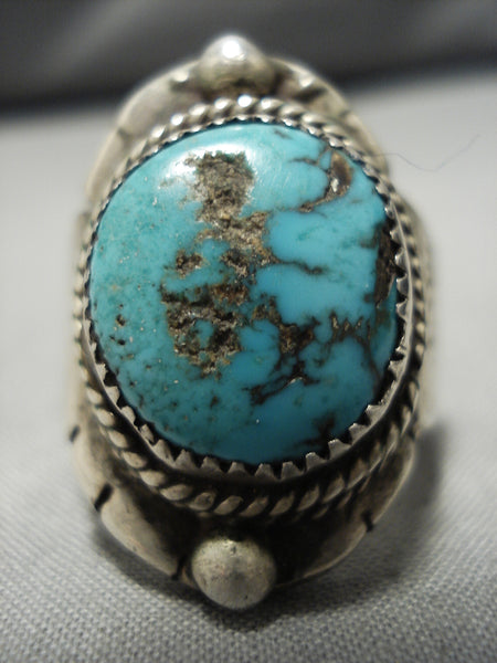 Remarkable Vintage Native American Navajo Thick Turquoise Sterling Silver Ring Old