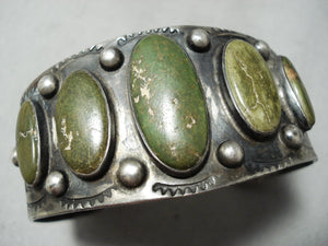 One Of The Biggest Best Vintage Native American Navajo Cerrillos Turquoise Coin Silver Bracelet