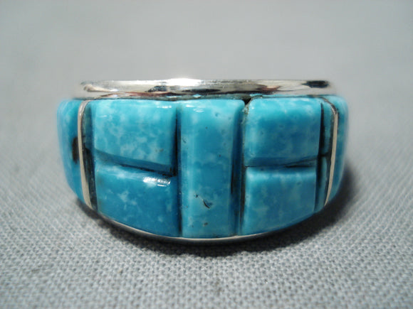 Superb Navajo Native American Turquoise Inlay Sterling Silver Ring