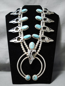 Native American Colossal Navajo Carico Lake Turquoise Sterling Silver Squash Blossom Necklace