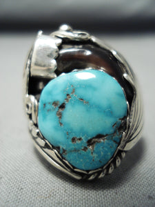 Authentic Badger Native American Navajo Turquoise Sterling Silver Ring