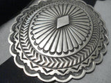 Harry Joe Hand Tooled Vintage Native American Navajo Sterling Silver Concho Belt Old