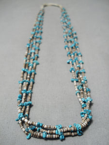 Incredible Feel Vintage Navajo Turquoise Native American Heishi Necklace Old