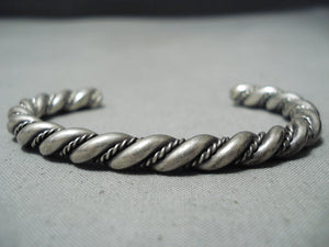 Marvelous Vintage Navajo Sterling Silver Twisted Rope Bracelet Native American