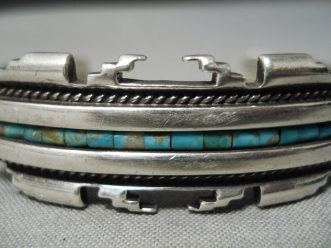 Thick Sturdy Vintage Native American Navajo Green Turquoise Heishi Sterling Silver Bracelet Old