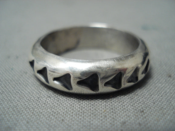 Impressive Navajo Sterling Silver Handstampings Ring Native American