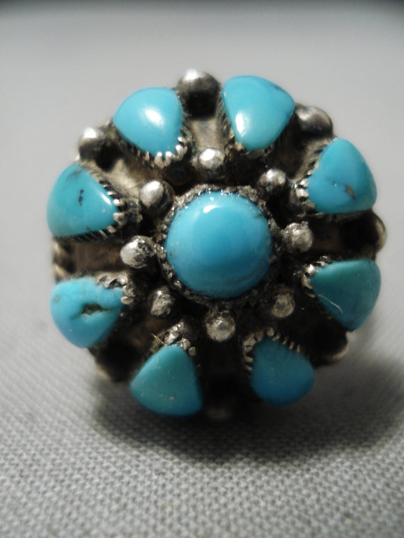 Rare Bulbous Vintage Native American Navajo Teardrop Turquoise Sterling Silver Ring Old