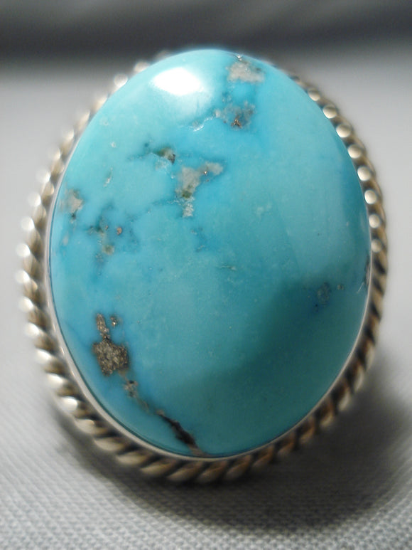 Colossal Vintage Native American Navajo Blue Gem Turquoise Sterling Silver Ring Old