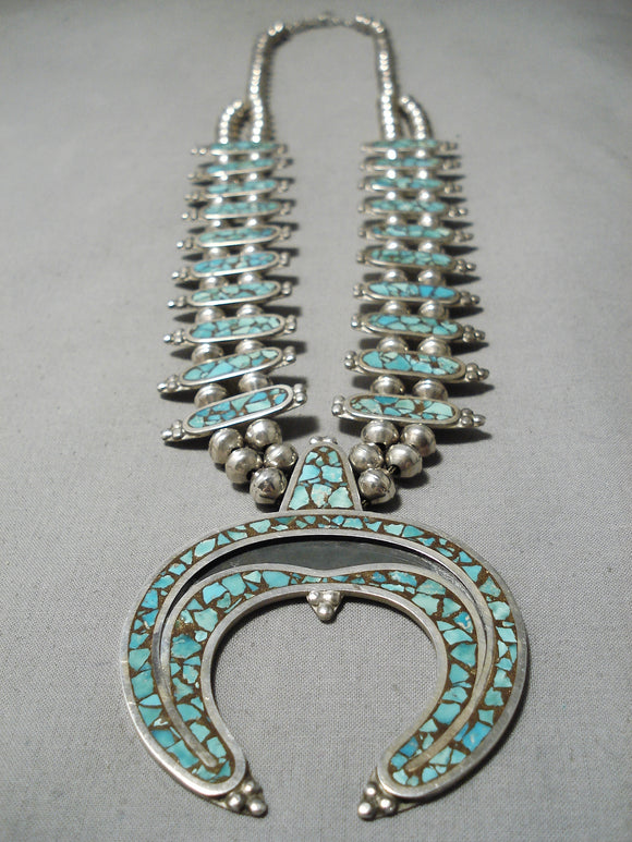 Authentic Vintage Native American Navajo Turquoise Inlay Sterling Silver Squash Blossom Necklace