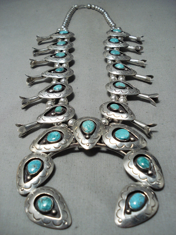 Huge 246 Gram Vintage Native American Navajo Turquoise Sterling Silver Squash Blossom Necklace