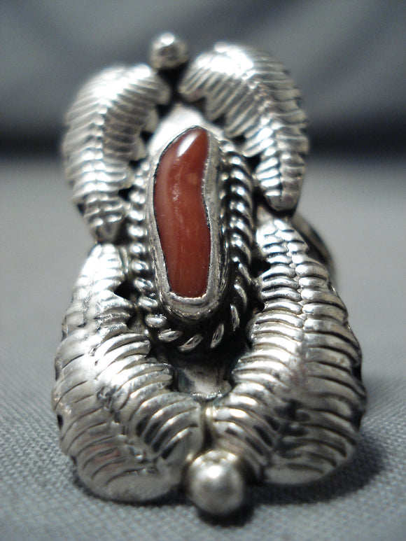 Signed Vintage Navajo Native American Coral Sterling Silver Ring Old