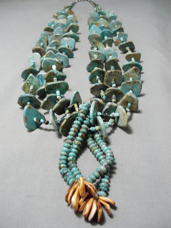 Native American Biggest Crazy Vintage Santo Domingo Royston Turquoise Sterling Silver Necklace