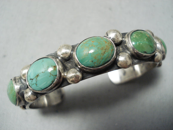 Superior Vintage Native American Navajo Royston Turquoise Sterling Silver Bracelet