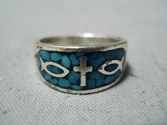 Christian Cross Vintage Native American Navajo Turquoise Sterling Silver Fish Ring Old