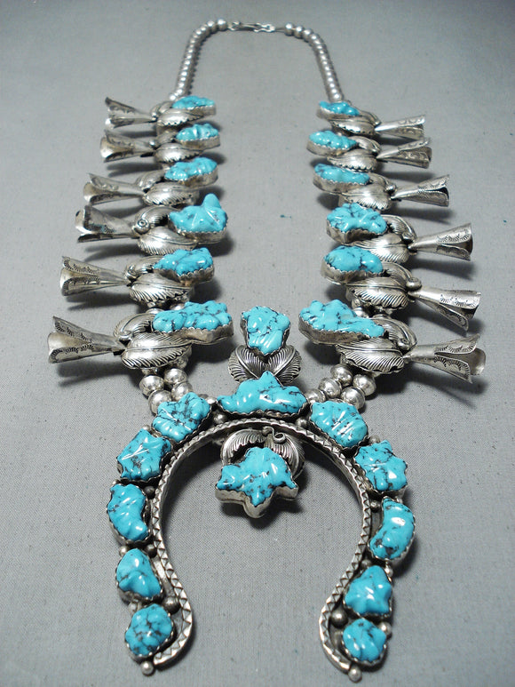 Women's Carved Turquoise Vintage Native American Navajo Sterling Silver Squash Blossom Necklace