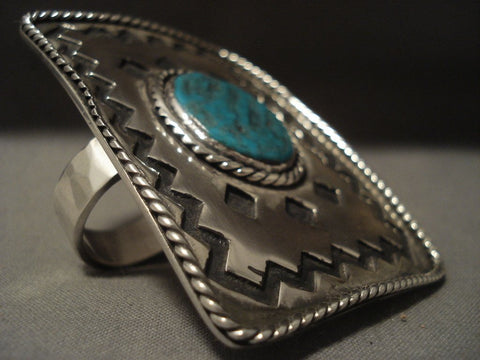 73 Gram Monster Vintage Navajo Duel Finger Turquoise Native American Jewelry Silver Ring Old-Nativo Arts