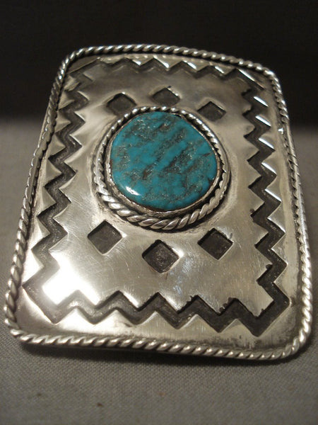 73 Gram Monster Vintage Navajo Duel Finger Turquoise Native American Jewelry Silver Ring Old