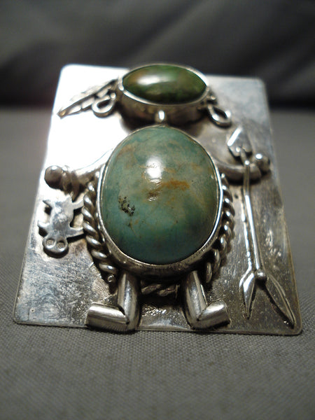Native American Important Huge Sammy Whitegoat Kachina Turquoise Sterling Silver Ring