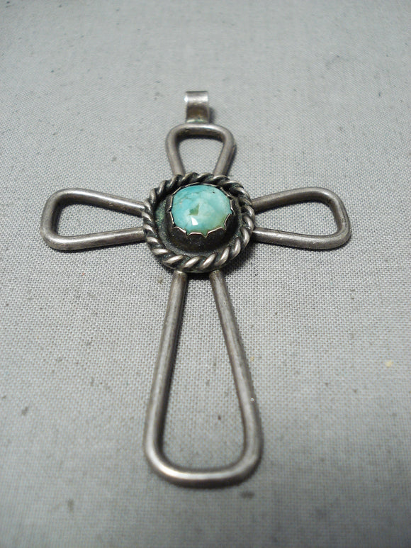 Native American Exquisite Vintage Santo Domingo Royston Turquoise Sterling Silver Cross Pendant
