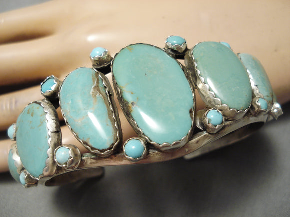 For Larger Wrist Vintage Native American Navajo Royston Turquoise Sterling Silver Bracelet Old