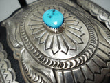 Tremendous Native American Navajo Kingman Turquoise Sterling Silver Bowguard