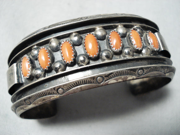 Superior Vintage Native American Navajo Domed Coral Sterling Silver Bracelet