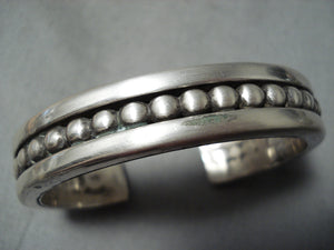 Important Jimmie King Jr Vintage Native American Navajo Thick Sterling Silver Bracelet