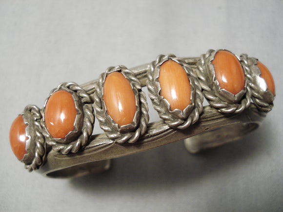 Thicker Heavy!! Vintage Native American Navajo Red Coral Sterling Silver Bracelet Old