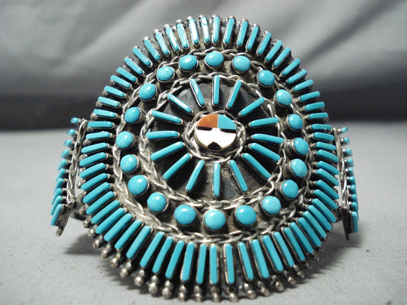 One Of The Most Unique Vintage Navajo/ Zuni Turquoise Sterling Silver Bracelet