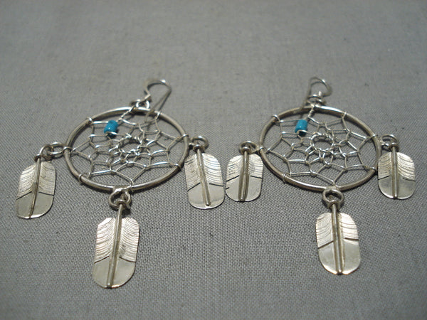 Detailed Intricate!! Vintage Native American Navajo Turquoise Drmcather Sterling Silver Earrings