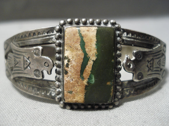 Early Vintage Native American Navajo Thunderbird Sterling Silver Bracelet Old
