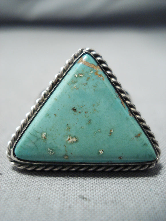 Unique Vintage Native American Navajo Green Turquoise Triangle Sterling Silver Ring Old