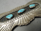 Detailed!! Vintage Native American Navajo Bursting Sterling Silver Turquoise Pin Old
