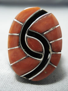 Exceptional Zuni Coral Inlay Sterling Silver Ring Native American
