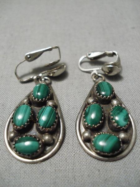 Beautiful Vintage Native American Navajo Malachite Sterling Silver Earrings Old