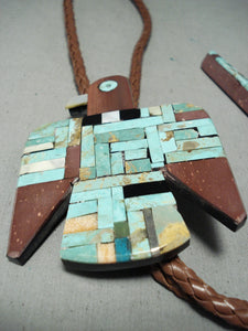 Native American Huge Rare Santo Domingo Turquoise Bird Sterling Silver Bolo Tie