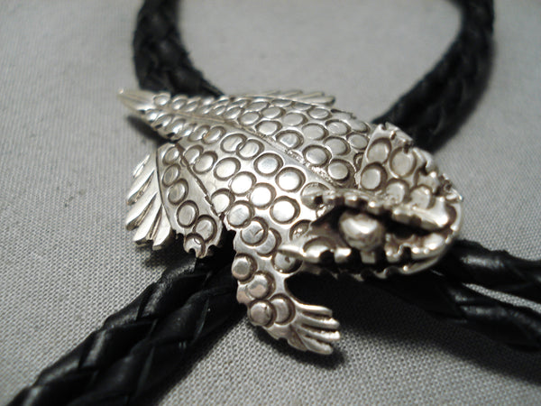 Detailed Navajo Sterling Silver Native American Toad Bolo Tie