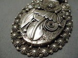 Heavy Sturdy Thick Vintage Native American Navajo Sterling Silver Leaf Necklace