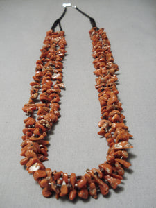 Incredible Vintage Native American Navajo Chunky Coral Sterling Silver Heishi Necklace Old
