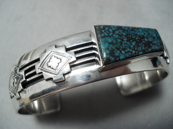 Incredible Vintage Native American Navajo Geomtric Turquoise Sterling Silver Channel Bracelet