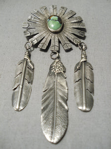 Magnificent Modernistic Native American Navajo Royston Turquoise Sterling Silver Pendant