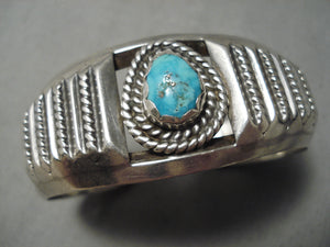 Detailed Vintage Native American Navajo Teadrop Turquoise Sterling Silver Bracelet Cuff Old