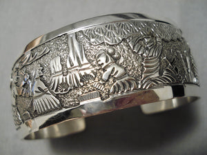 Detailed And Intricate!! Navajo Sterling Silver Native American Bracelet
