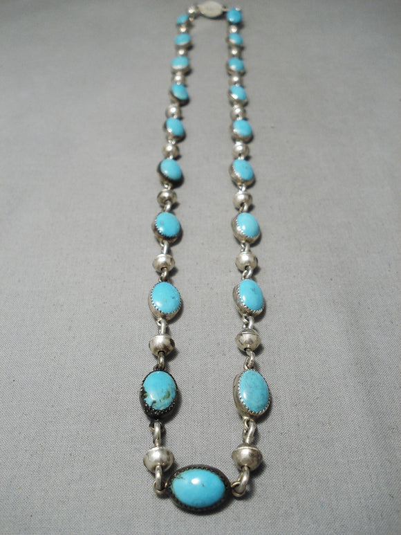 Very Important Vintage Native American Navajo Kee Joe Benally Turquoise Sterling Silver Necklace
