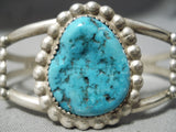 Incredible Vintage Native American Navajo Blue Turquoise Sterling Silver Bracelet Old