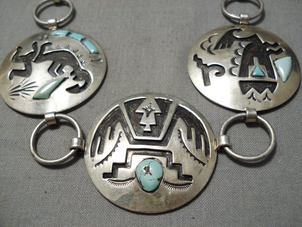 Important Vintage Native American Navajo Turquoise Sterling Silver Inlay Concho Belt