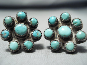 Quality Rare Vintage Native American Navajo Turquoise Satellite Sterling Silver Earrings