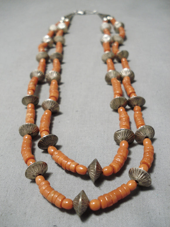 Museum Vintage Native American Navajo Coral Sterling Silver Hogan Bead Necklace- Very Old!