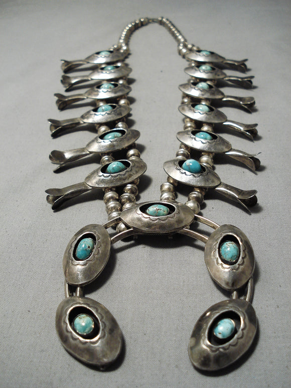 Huge Heavy Vintage Native American Navajo Turquoise Sterling Silver Squash Blossom Necklace Old
