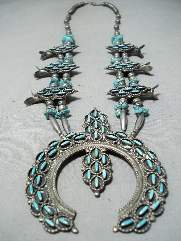 Intricate Vintage Native American Navajo Zuni Turquoise Sterling Silover Squash Blossom Necklace